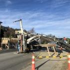 The truck crane tipped over on Lakeside Rd. Photo: Kerrie Waterworth