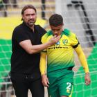 Norwich City manager Daniel Farke consoles young fullback Max Aarons after their defeat to West...