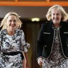 MPs Nikki Kaye (right) and Amy Adams, pictured here in 2017, are quitting politics. Photo: Getty...