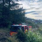 Fire and Emergency New Zealand at the scene today. Photo: Craig Baxter