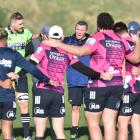 The Highlanders get ready to train at Hancock Park yesterday. PHOTO: GREGOR RICHARDSON