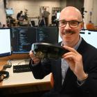 Otago Business School dean Robin Gauld with hololens ''smartglasses'' in the school's Human...