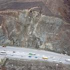 The section of road SH8 near the intersection of SH8B where a landslip threatens safe passage....