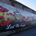 An Anzac-themed mural on a wall in Church St, Mosgiel. PHOTO: SHAWN MCAVINUE