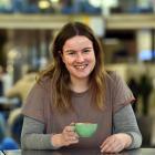 Otago University student Katie Fenton (20) with her coffee on campus yesterday. PHOTO: PETER...