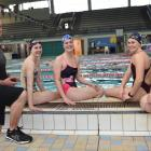 At Moana Pool yesterday are (from left) coach Lars Humer, Caitlin Deans, Erica Fairweather, Ciara...