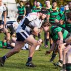 Woodlands prop Joe Walsh on the charge in the match against Marist in Invercargill last Saturday....