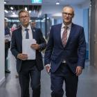 Director-general of health Ashley Bloomfield and then-health minister David Clark arrive at the...