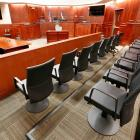 A view of the jury box, right, inside Courtroom 201, where jury selection in the trial of Aurora...