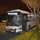 A bus, believed to have been stolen, came to a stop in Pine Hill Rd, Dunedin, after crashing into...