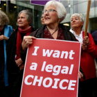Euthanasia advocates stood outside the court during Susan Austen's sentencing on Friday, 11 May,...
