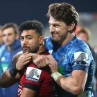 First five-eighths Richie Mo'unga (Crusaders) and Beauden Barrett (Blues). Photo: Getty Images