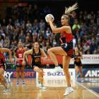 Mainland Tactix goal attack Te Paea Selby-Rickit receives the ball during her team's ANZ...