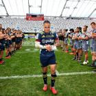 Aaron Smith walks off after playing his 150th game following the round 10 Super Rugby Aotearoa...