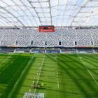 The stands are empty during the round 10 Super Rugby Aotearoa match between the Highlanders and...