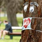 A mask on a tree during lockdown in Melbourne. Photo: Getty