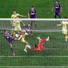 Action at the goalmouth from the Phoenix v Perth Glory match. Photo: Getty