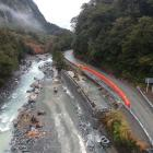 The Falls Creek retaining wall on the Milford Road (SH94). PHOTO: SUPPLIED/NZTA