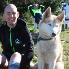 Southland Sled Dog Association member Justin McNally with Nitro (left) and VX at the Fosbender...