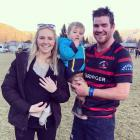 Adam and Rosie Hill with family Lockie (18 months) and new baby Goldie (four weeks) after a game...