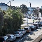 Central Auckland residents queue to be tested at the Mt Eden Community Testing Centre in New...