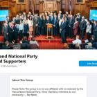 The National Party has contacted Facebook to see if its party name can be removed from the page....