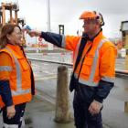 Port Otago workers Michelle Simpson and Andrew Jennings show how a temperature check, one of the...