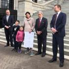 New Zealand First MPs Fletcher Tabuteau (left), Winston Peters and Mark Patterson were on hand...