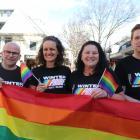 Winter Pride 2020 volunteers (from left) David Dewhurst, Mary Horan, Mini Watson and Aaron...