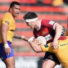 Brodie McAlister of Canterbury charges forward during the Ranfurly Shield Challenge match...