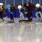 Speed skaters (from left) Max Cathro (10), Zakari Evangelou (10), Lukas Ghidella (12), Brooke...