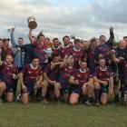 The victorious West Taieri team celebrates after claiming the South Otago premier rugby title in...