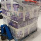 A pallet of toilet paper is pulled out to restock the shelves in Countown Frankton. Photo:...