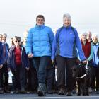 Trixie Trampers founders Sylvia Watt and Alison Jones, along with Mrs Jones' guide dog Jimmy and...