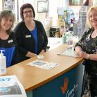 Clutha District Council library-service centre manager Debbie Duncan (right) checks in on...