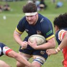 Dunedin captain and lock Mark Grieve-Dunn takes the ball into the combined tackle of Harbour...