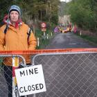 Extinction Rebellion activist Julie Thompson at the Bathurst mine in Canterbury. Photo: RNZ /...
