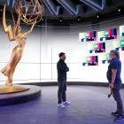 Emmy host Jimmy Kimmel (left) with stage manager Gary Natoli during rehearsal for Sunday's show....