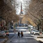 A quiet Bourke St in Melbourne at the weekend. Photo: Getty
