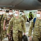 Australian Defence Force troops disembark at Avalon Airport In Geelong, Victoria. The troops have...