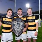 Beauden Barrett Ben May and Jordie Barrett pose for a photo with the Ranfurly Shield. Photo: Joe...
