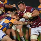 Southland No8 Tony Lamborn tries to fend off Bay of Plenty reserve hooker Ross Geldenhuys during...