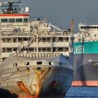 The Gulf Livestock 1 is seen at Fremantle Harbour in Western Australia last year. Photo: Brian W...