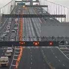 Traffic over the Auckland Harbour Bridge's clip-on lanes on Saturday morning. Photo: NZTA