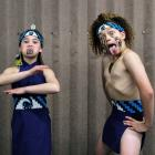 Waverley Park School pupils Rahiri Cooper, Raiha Blair and Tane Furlonge show their pukana. PHOTO...