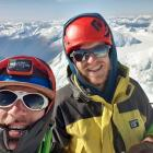 Melvin Krook and Andy Hoare (right) at the summit of Mt Aspiring. Photo: Melvin Krook