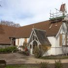Scaffolding surrounds St Mary's Church in Halswell. Photo: Geoff Sloan