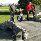 Ross Gourley and Sir Bob Charles on a replica of the famous St Andrews Swilcan Bridge, built by...