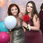 Annabelle Ring (left) and Paige Carey (both 16) were all glammed up and ready to dance the night...