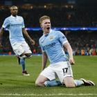 Kevin de Bruyne celebrates after scoring Manchester City's first goal. Photo: Reuters